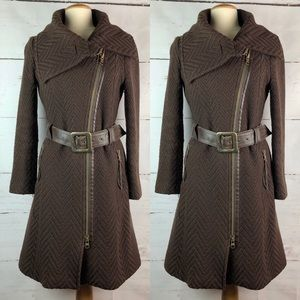 Mackage | Wool Trench with Leather Belt, Size M